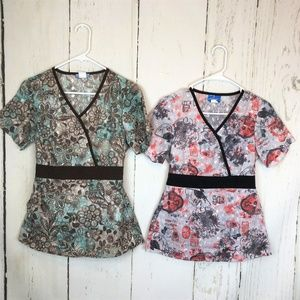 2 Elan By Barco Embroidered Scrub Tops